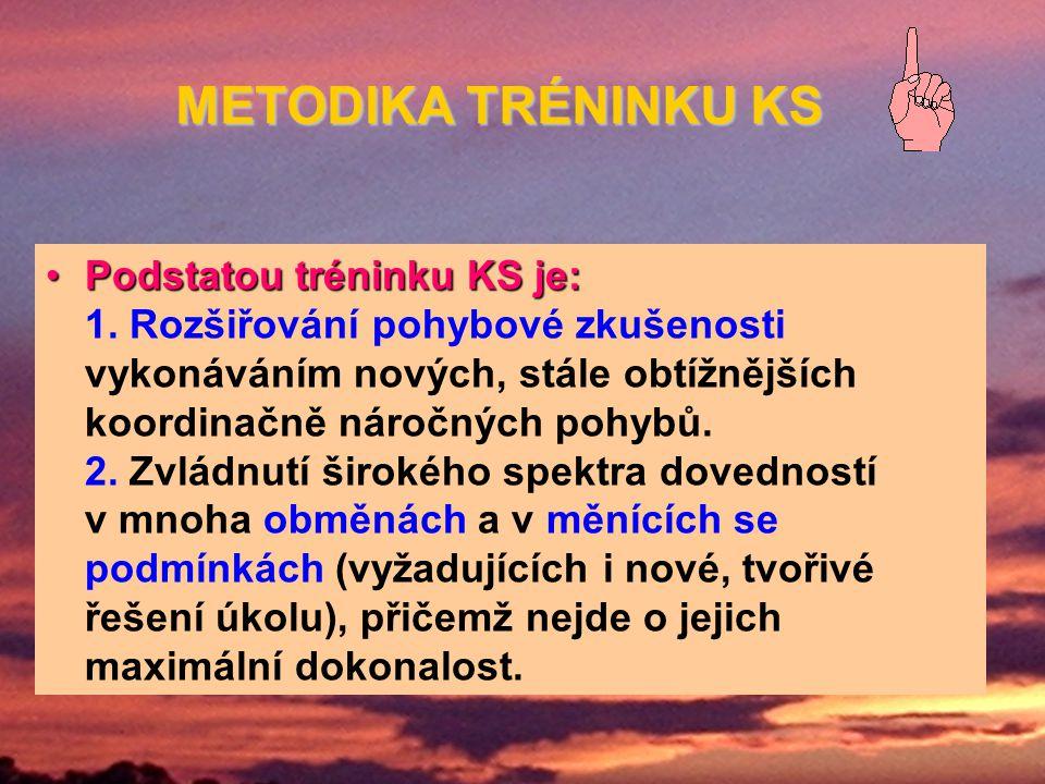 PodstatoutréninkuKS je:Podstatou tréninku KS je: 1. Rozšiřování pohybové zkušenosti vykonáváním nových, stále obtížnějších koordinačně náročných pohyb