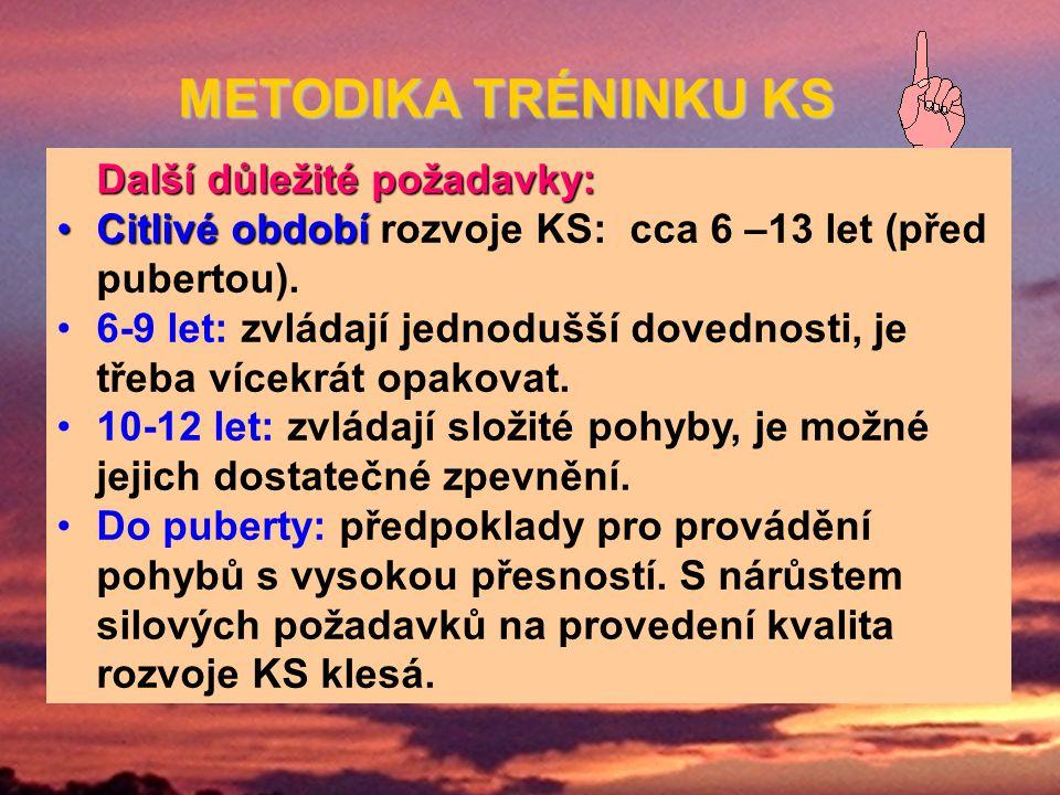Další důležité požadavky: Citlivé obdobíCitlivé období rozvoje KS: cca 6 –13 let (před pubertou).