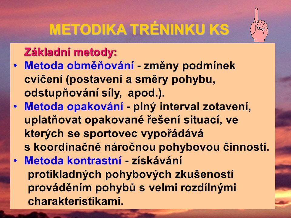 Základní metody: mMetoda obměňování - změny podmínek cvičení (postavení a směry pohybu, odstupňování síly, apod.).