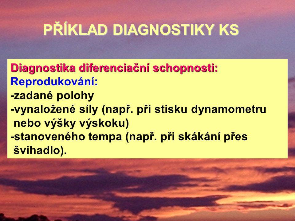 Diagnostika diferenciační schopnosti: Reprodukování: -zadané polohy -vynaložené síly (např. při stisku dynamometru nebo výšky výskoku) -stanoveného te