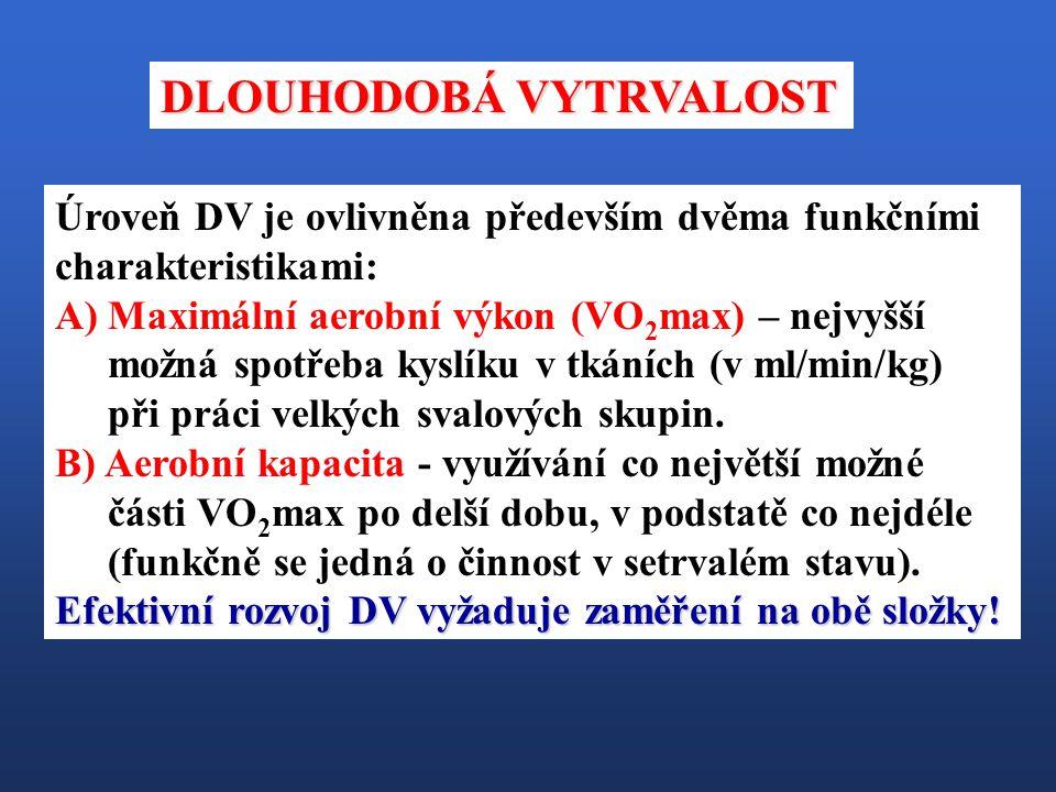 Úroveň DV je ovlivněna především dvěma funkčními charakteristikami: A)Maximální aerobní výkon (VO 2 max) – nejvyšší možná spotřeba kyslíku v tkáních (