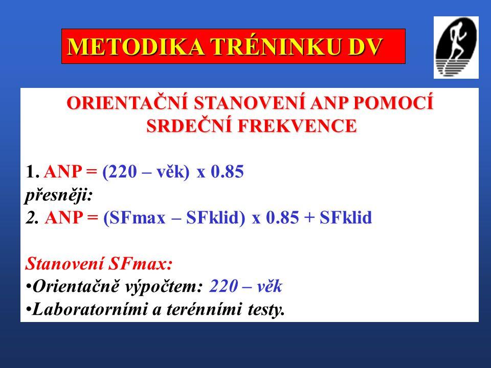 ORIENTAČNÍ STANOVENÍ ANP POMOCÍ SRDEČNÍ FREKVENCE SRDEČNÍ FREKVENCE 1. ANP = (220 – věk) x 0.85 přesněji: 2. ANP = (SFmax – SFklid) x 0.85 + SFklid St