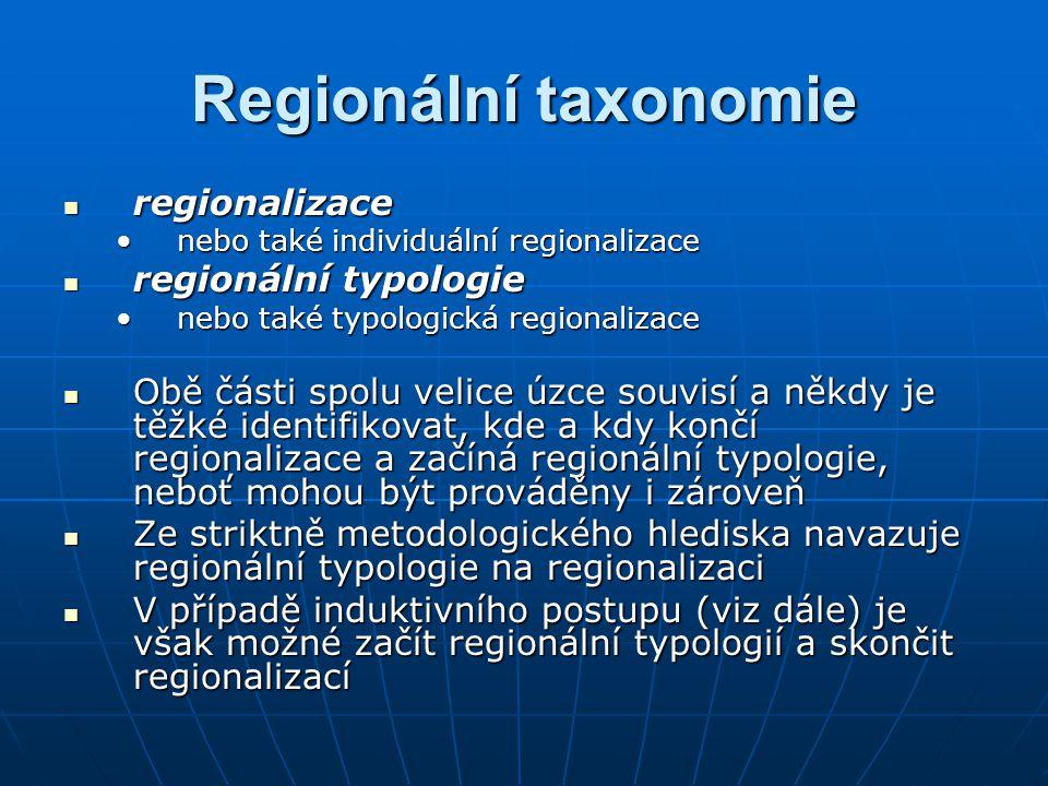 regionalizace regionalizace nebo také individuální regionalizacenebo také individuální regionalizace regionální typologie regionální typologie nebo také typologická regionalizacenebo také typologická regionalizace Obě části spolu velice úzce souvisí a někdy je těžké identifikovat, kde a kdy končí regionalizace a začíná regionální typologie, neboť mohou být prováděny i zároveň Obě části spolu velice úzce souvisí a někdy je těžké identifikovat, kde a kdy končí regionalizace a začíná regionální typologie, neboť mohou být prováděny i zároveň Ze striktně metodologického hlediska navazuje regionální typologie na regionalizaci Ze striktně metodologického hlediska navazuje regionální typologie na regionalizaci V případě induktivního postupu (viz dále) je však možné začít regionální typologií a skončit regionalizací V případě induktivního postupu (viz dále) je však možné začít regionální typologií a skončit regionalizací