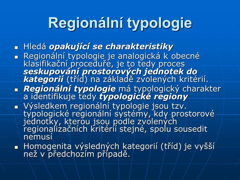Regionální typologie Hledá opakující se charakteristiky Hledá opakující se charakteristiky Regionální typologie je analogická k obecné klasifikační proceduře, je to tedy proces seskupování prostorových jednotek do kategorií (tříd) na základě zvolených kritérií.