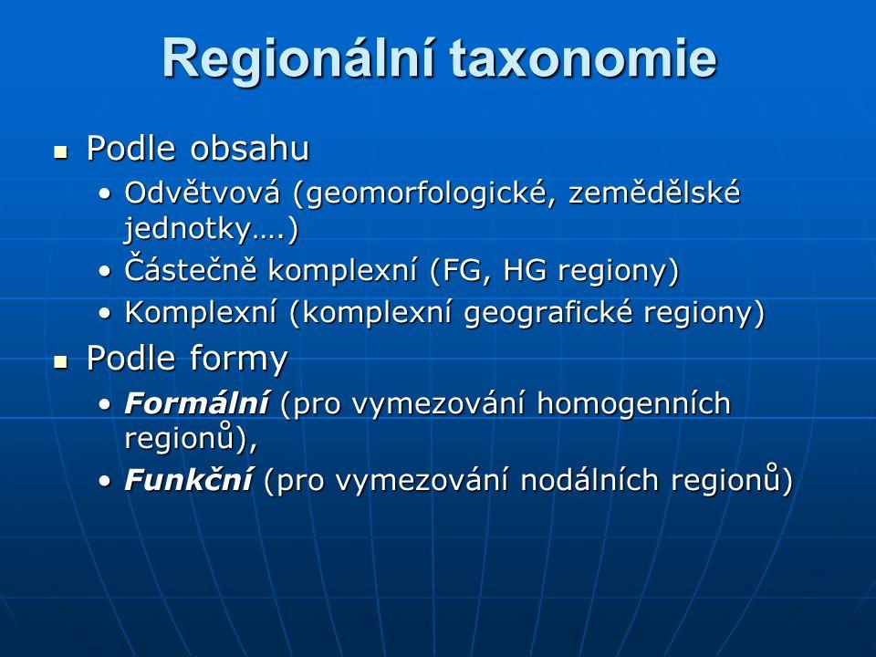 Regionální taxonomie Podle obsahu Podle obsahu Odvětvová (geomorfologické, zemědělské jednotky….)Odvětvová (geomorfologické, zemědělské jednotky….) Částečně komplexní (FG, HG regiony)Částečně komplexní (FG, HG regiony) Komplexní (komplexní geografické regiony)Komplexní (komplexní geografické regiony) Podle formy Podle formy Formální (pro vymezování homogenních regionů),Formální (pro vymezování homogenních regionů), Funkční (pro vymezování nodálních regionů)Funkční (pro vymezování nodálních regionů)