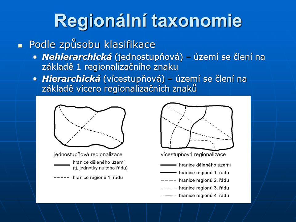 Podle způsobu klasifikace Podle způsobu klasifikace Nehierarchická (jednostupňová) – území se člení na základě 1 regionalizačního znakuNehierarchická (jednostupňová) – území se člení na základě 1 regionalizačního znaku Hierarchická (vícestupňová) – území se člení na základě vícero regionalizačních znakůHierarchická (vícestupňová) – území se člení na základě vícero regionalizačních znaků Regionální taxonomie