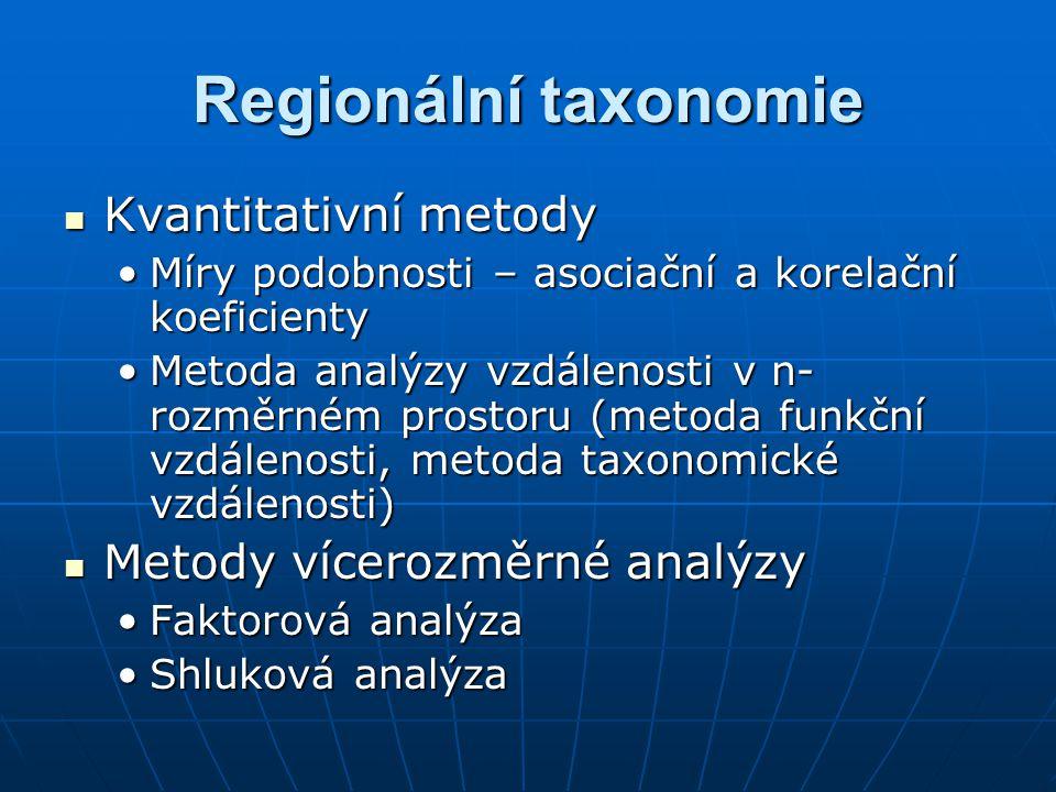Regionální taxonomie Kvantitativní metody Kvantitativní metody Míry podobnosti – asociační a korelační koeficientyMíry podobnosti – asociační a korelační koeficienty Metoda analýzy vzdálenosti v n- rozměrném prostoru (metoda funkční vzdálenosti, metoda taxonomické vzdálenosti)Metoda analýzy vzdálenosti v n- rozměrném prostoru (metoda funkční vzdálenosti, metoda taxonomické vzdálenosti) Metody vícerozměrné analýzy Metody vícerozměrné analýzy Faktorová analýzaFaktorová analýza Shluková analýzaShluková analýza