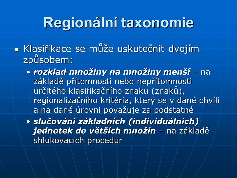 Regionální taxonomie V prvním případě jsou klasifikační kategorie předem definované, některé z nich však mohou po dokončení klasifikace zůstat prázdné.