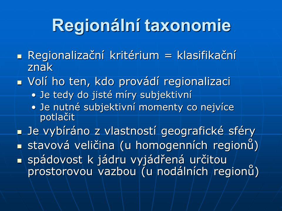 Regionalizační kritérium = klasifikační znak Regionalizační kritérium = klasifikační znak Volí ho ten, kdo provádí regionalizaci Volí ho ten, kdo provádí regionalizaci Je tedy do jisté míry subjektivníJe tedy do jisté míry subjektivní Je nutné subjektivní momenty co nejvíce potlačitJe nutné subjektivní momenty co nejvíce potlačit Je vybíráno z vlastností geografické sféry Je vybíráno z vlastností geografické sféry stavová veličina (u homogenních regionů) stavová veličina (u homogenních regionů) spádovost k jádru vyjádřená určitou prostorovou vazbou (u nodálních regionů) spádovost k jádru vyjádřená určitou prostorovou vazbou (u nodálních regionů)