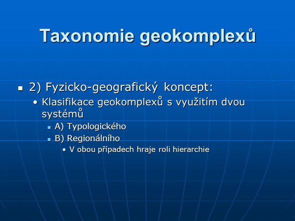 Taxonomie geokomplexů 2) Fyzicko-geografický koncept: 2) Fyzicko-geografický koncept: Klasifikace geokomplexů s využitím dvou systémůKlasifikace geoko