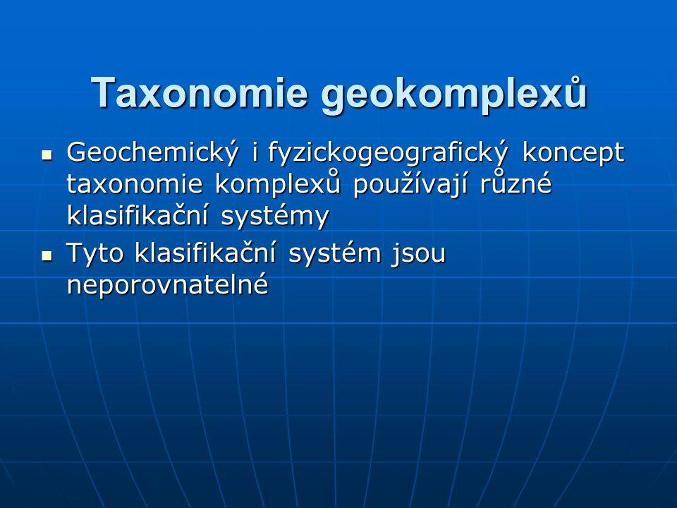 Taxonomie geokomplexů Geochemický i fyzickogeografický koncept taxonomie komplexů používají různé klasifikační systémy Geochemický i fyzickogeografick