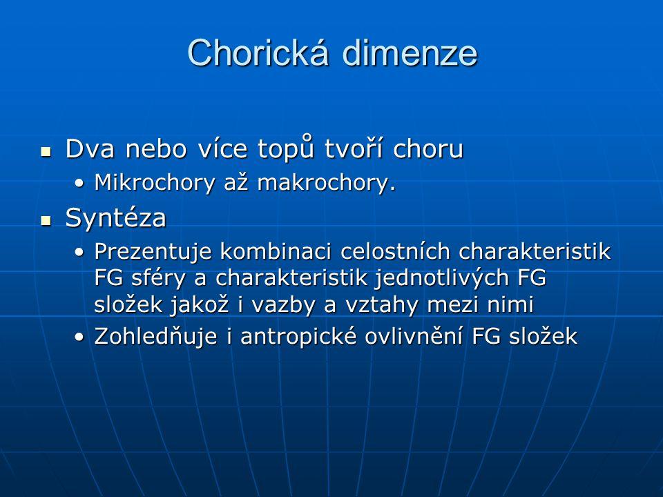 Chorická dimenze Dva nebo více topů tvoří choru Dva nebo více topů tvoří choru Mikrochory až makrochory.Mikrochory až makrochory. Syntéza Syntéza Prez