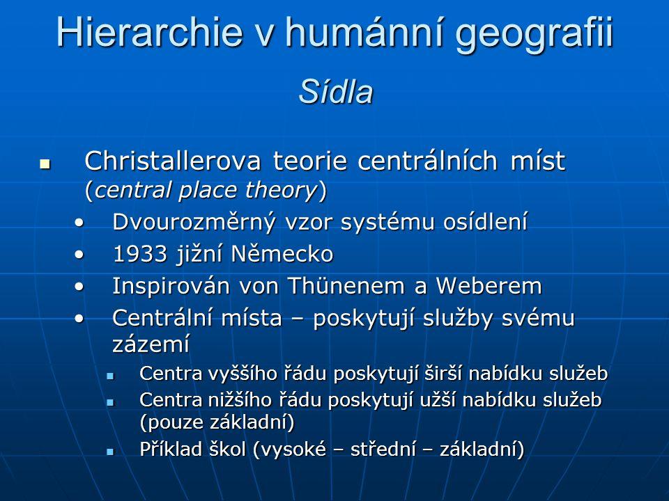 Hierarchie v humánní geografii Christallerova teorie centrálních míst (central place theory) Christallerova teorie centrálních míst (central place the