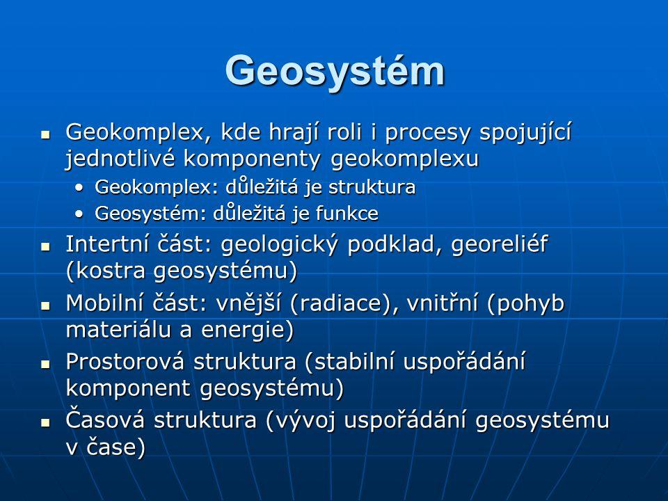 Geosystém Geokomplex, kde hrají roli i procesy spojující jednotlivé komponenty geokomplexu Geokomplex, kde hrají roli i procesy spojující jednotlivé k