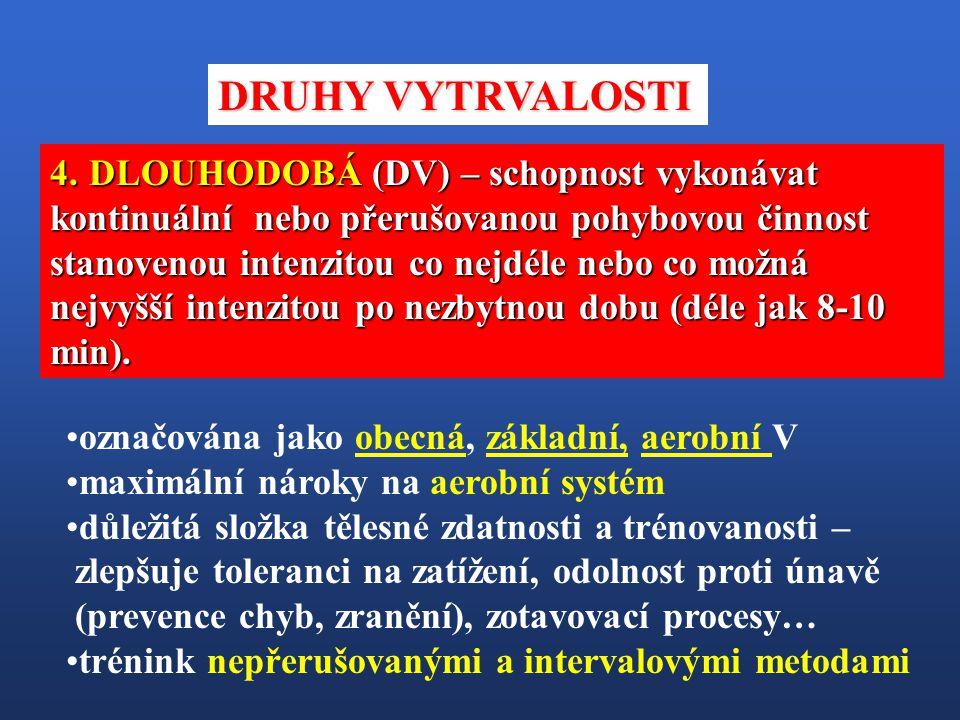 4. DLOUHODOBÁ (DV) – schopnost vykonávat kontinuální nebo přerušovanou pohybovou činnost stanovenou intenzitou co nejdéle nebo co možná nejvyšší inten