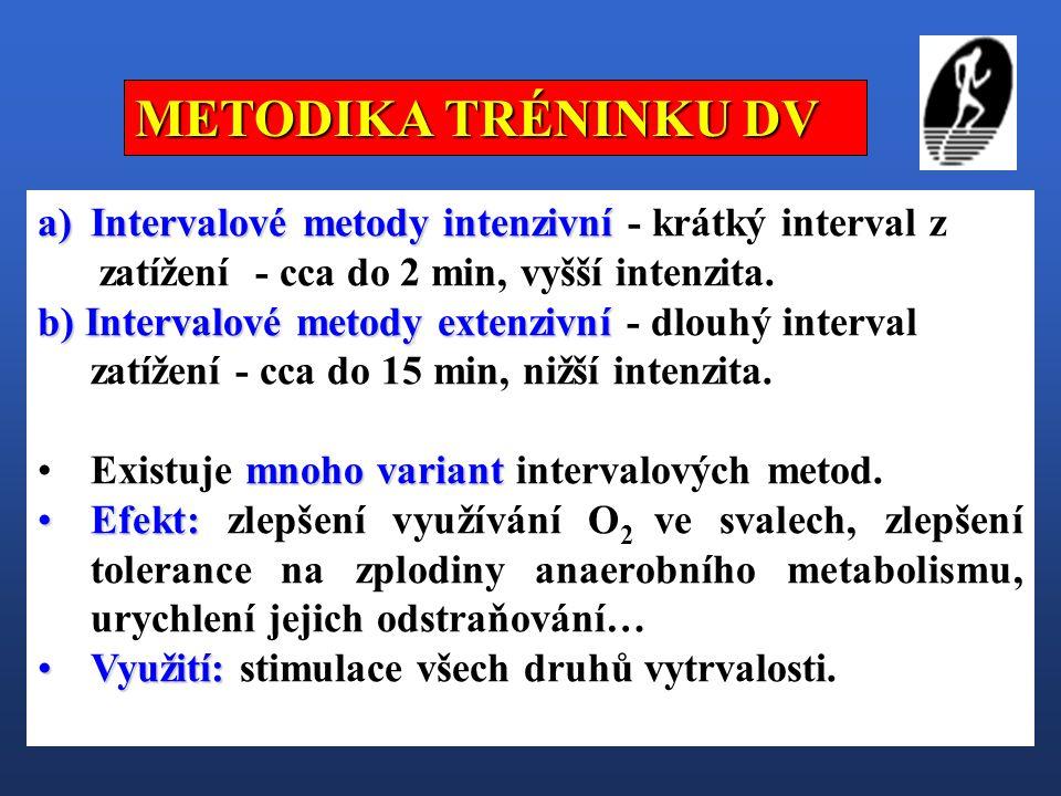 a)Intervalové metody intenzivní a)Intervalové metody intenzivní - krátký interval z zatížení - cca do 2 min, vyšší intenzita. b) Intervalové metody ex
