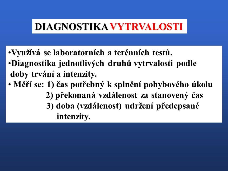 Využívá se laboratorních a terénních testů. Diagnostika jednotlivých druhů vytrvalosti podle doby trvání a intenzity. Měří se: 1) čas potřebný k splně