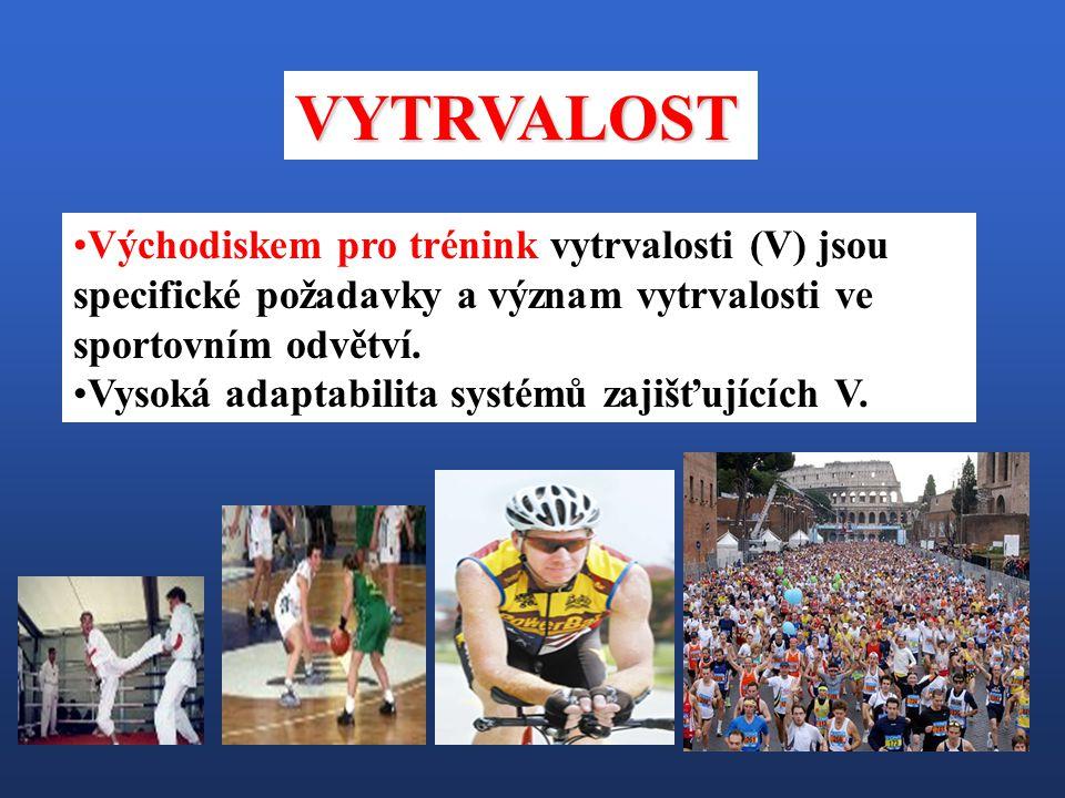 Východiskem pro trénink vytrvalosti (V) jsou specifické požadavky a význam vytrvalosti ve sportovním odvětví. Vysoká adaptabilita systémů zajišťujícíc