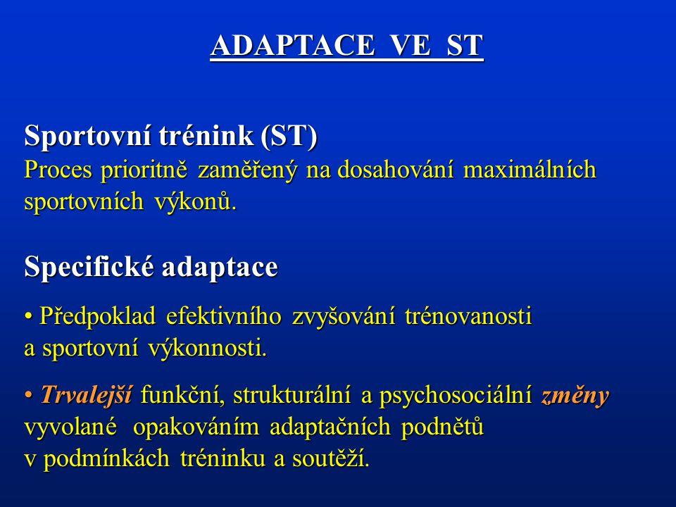 Změny trénovanosti Změny úrovně dovedností Změny úrovně schopností Změny úrovně vědomostí Změny úrovně stavů Změny úrovně somatických předpokladů ADAPTACE VE ST