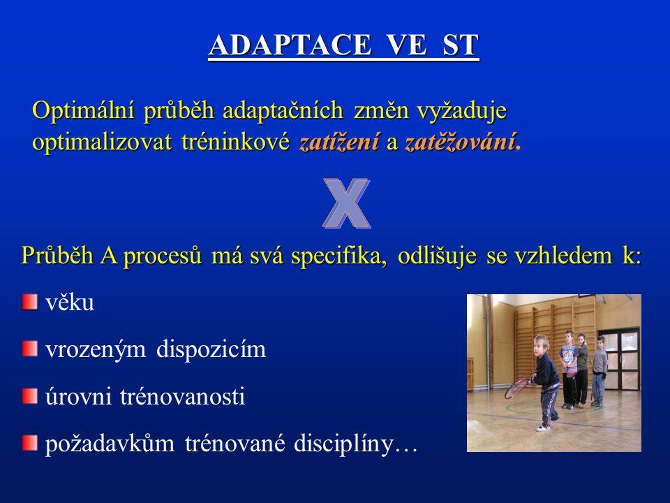 Tréninkové zatížení Základní A podnět vedoucí ke spuštění mechanizmů adaptace organizmu sportovce (účelem je narušit homeostázu).