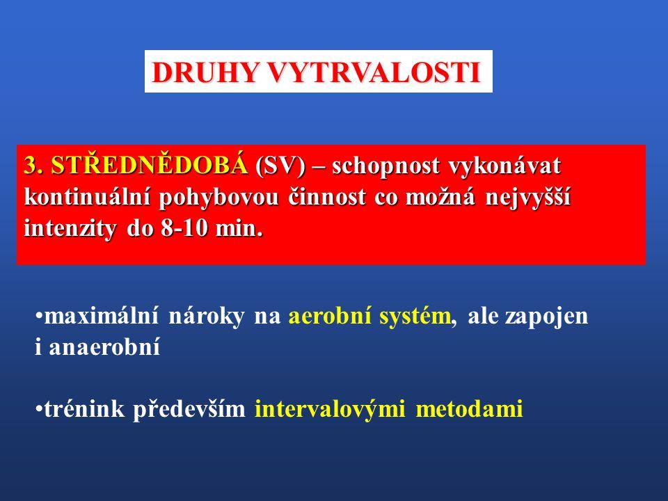 maximální nároky na aerobní systém, ale zapojen i anaerobní trénink především intervalovými metodami 3. STŘEDNĚDOBÁ (SV) – schopnost vykonávat kontinu
