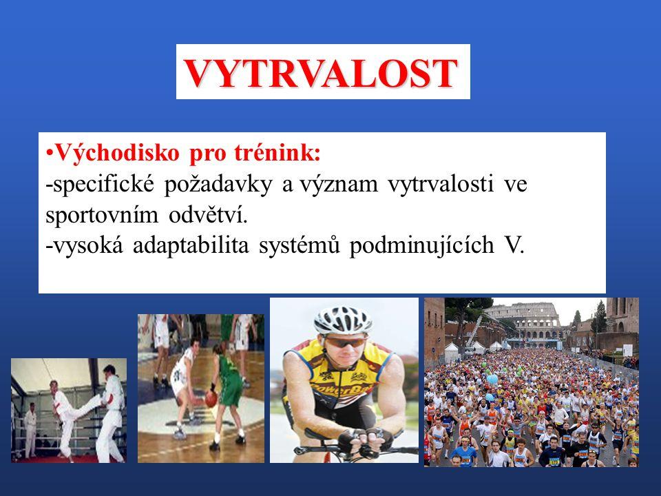 Východisko pro trénink: -specifické požadavky a význam vytrvalosti ve sportovním odvětví. -vysoká adaptabilita systémů podminujících V. VYTRVALOST