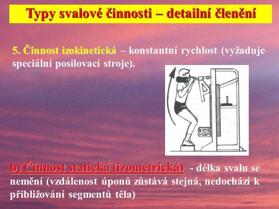 4. Činnost plyometrická 4. Činnost plyometrická – kombinace excentrické a bezprostředně následující koncentrické svalové činnosti. Typy svalové činnos