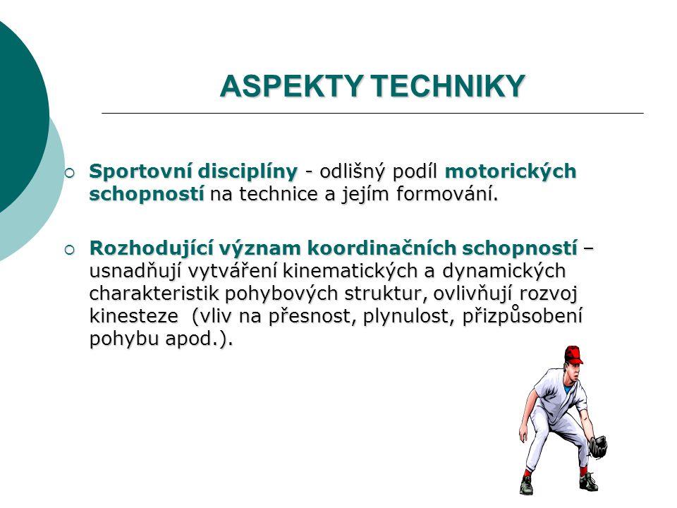 ASPEKTY TECHNIKY  Sportovní disciplíny - odlišný podíl motorických schopností na technice a jejím formování.  Rozhodující význam koordinačních schop