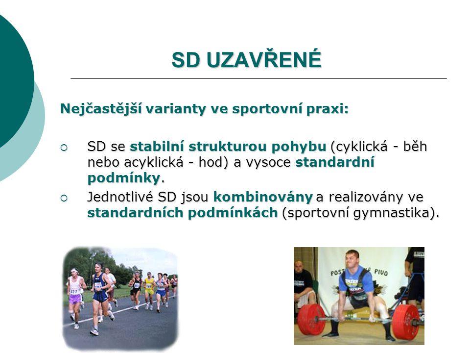 SD UZAVŘENÉ Nejčastější varianty ve sportovní praxi:  SD se stabilní strukturou pohybu (cyklická - běh nebo acyklická - hod) a vysoce standardní podmínky.