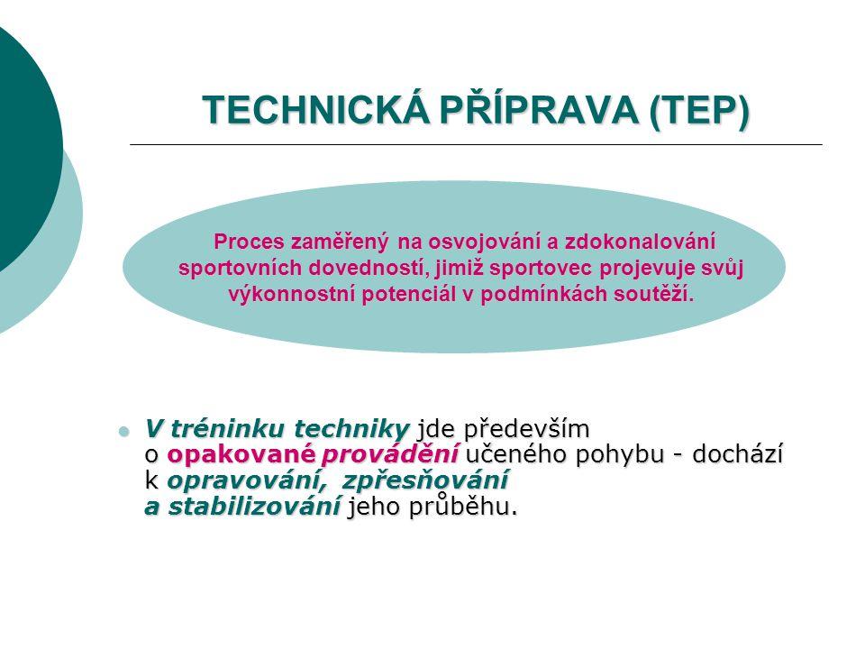 TECHNICKÁ PŘÍPRAVA (TEP) V tréninku techniky jde především o opakované provádění učeného pohybu - dochází k opravování, zpřesňování a stabilizování je