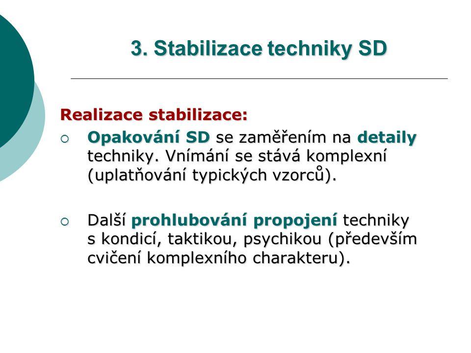 Realizace stabilizace:  Opakování SD se zaměřením na detaily techniky. Vnímání se stává komplexní (uplatňování typických vzorců).  Další prohlubován