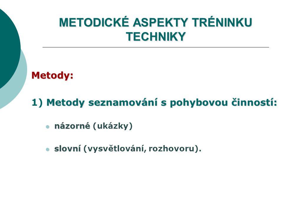 METODICKÉ ASPEKTY TRÉNINKU TECHNIKY Metody: Metody seznamování s pohybovou činností: 1) Metody seznamování s pohybovou činností: názorné názorné (ukázky) slovní slovní (vysvětlování, rozhovoru).