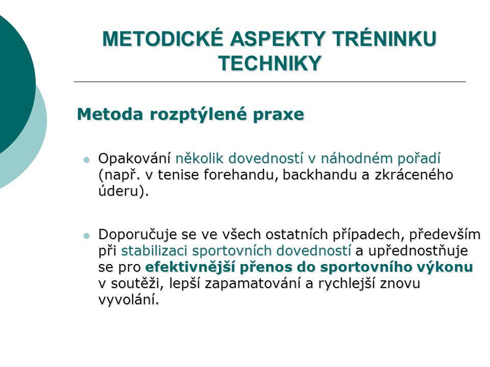 METODICKÉ ASPEKTY TRÉNINKU TECHNIKY Metoda rozptýlené praxe Metoda rozptýlené praxe Opakování několik dovedností v náhodném pořadí (např.