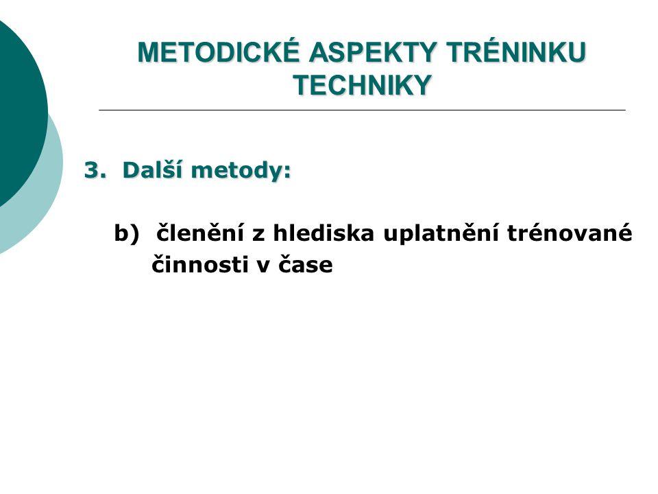 METODICKÉ ASPEKTY TRÉNINKU TECHNIKY 3. Další metody: b) členění z hlediska uplatnění trénované činnosti v čase