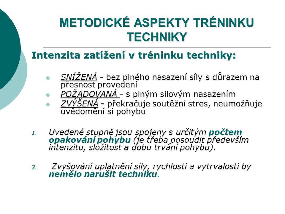 METODICKÉ ASPEKTY TRÉNINKU TECHNIKY Intenzita zatížení v tréninku techniky: SNÍŽENÁ - bez plného nasazení síly s důrazem na přesnost provedení SNÍŽENÁ