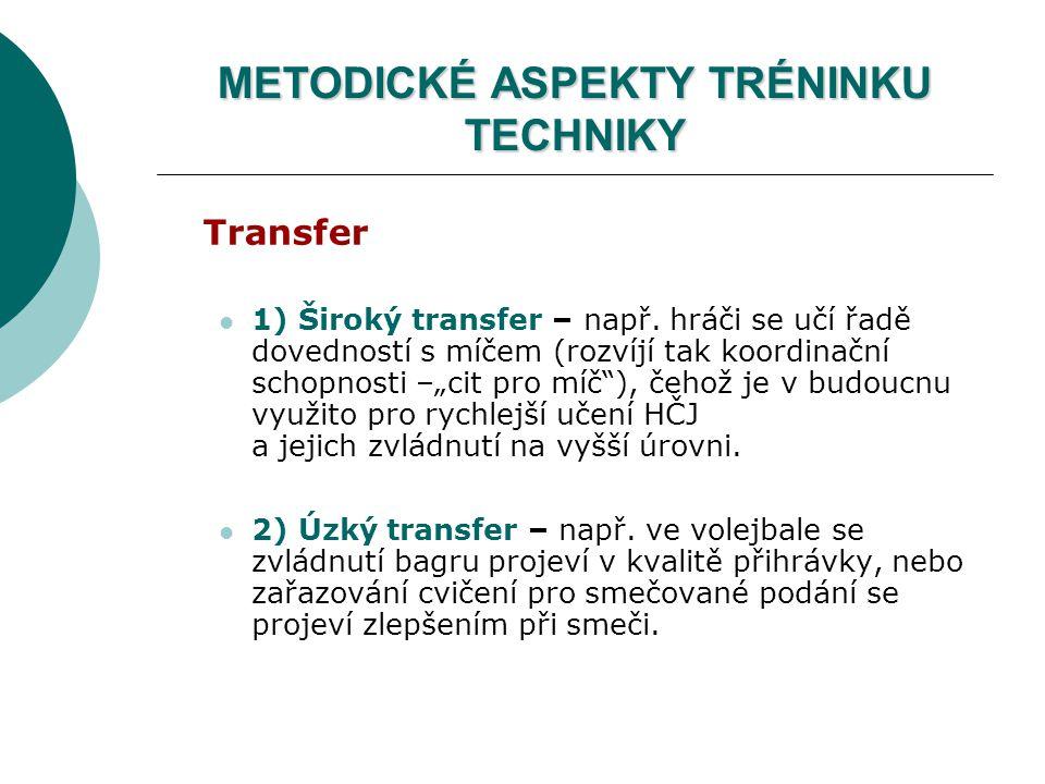"""METODICKÉ ASPEKTY TRÉNINKU TECHNIKY Transfer 1) Široký transfer – např. hráči se učí řadě dovedností s míčem (rozvíjí tak koordinační schopnosti –""""cit"""