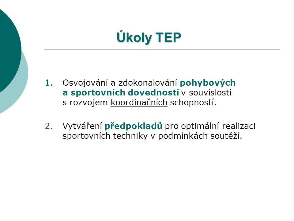 Úkoly TEP 1.Osvojování a zdokonalování pohybových a sportovních dovedností v souvislosti s rozvojem koordinačních schopností. 2.Vytváření předpokladů