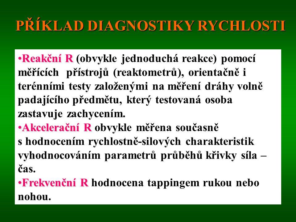 DIAGNOSTIKA RYCHLOSTI Diferencovaný přístup vzhledem k odlišnostem mezi jednotlivými druhy R. Terénní a laboratorní testy. Měří se většinou elektronic