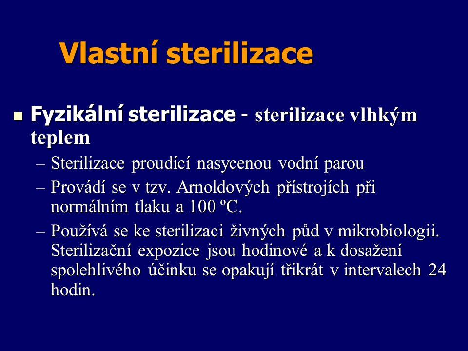Vlastní sterilizace Fyzikální sterilizace - sterilizace vlhkým teplem Fyzikální sterilizace - sterilizace vlhkým teplem –Sterilizace proudící nasyceno