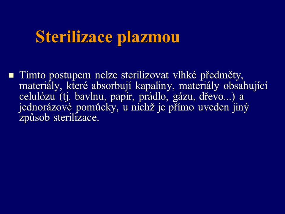 Sterilizace plazmou Tímto postupem nelze sterilizovat vlhké předměty, materiály, které absorbují kapaliny, materiály obsahující celulózu (tj. bavlnu,