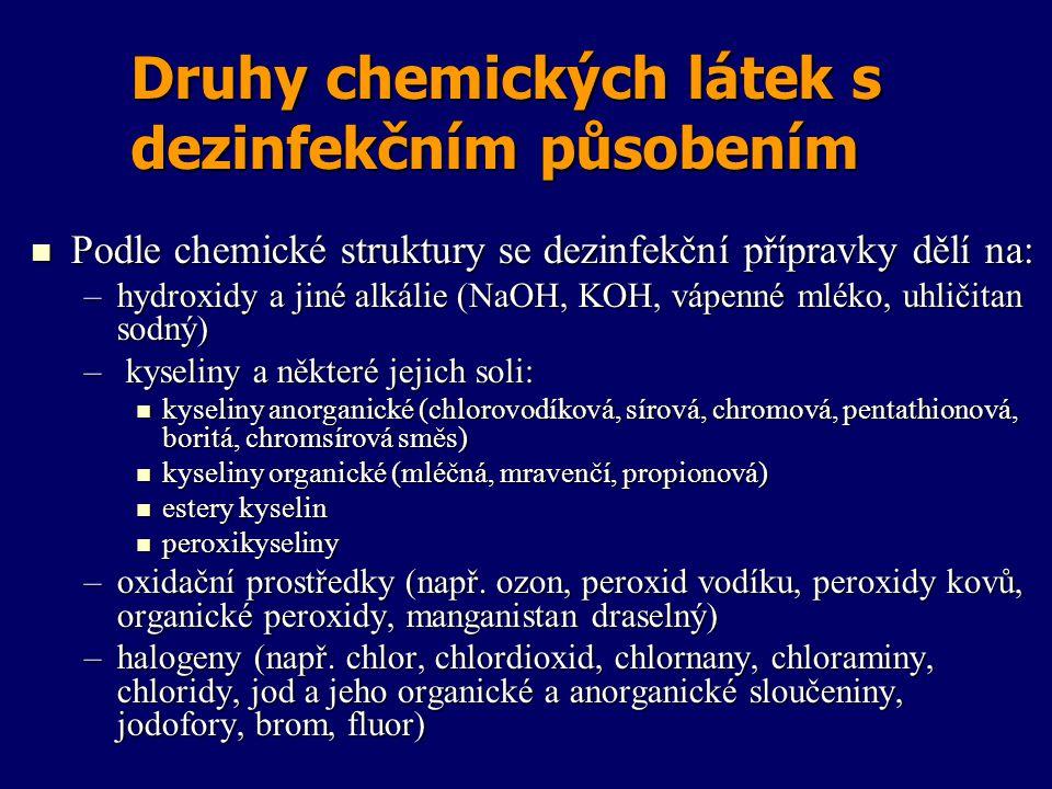 Druhy chemických látek s dezinfekčním působením Podle chemické struktury se dezinfekční přípravky dělí na: Podle chemické struktury se dezinfekční pří