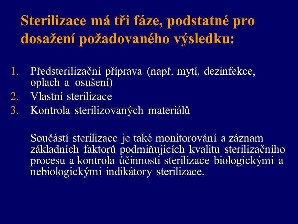 Vlastní sterilizace Fyzikální sterilizace - sterilizace vlhkým teplem Fyzikální sterilizace - sterilizace vlhkým teplem –Provádí se jako parní sterilizace nasycenou vodní parou pod tlakem v parních sterilizátorech (autoklávech).
