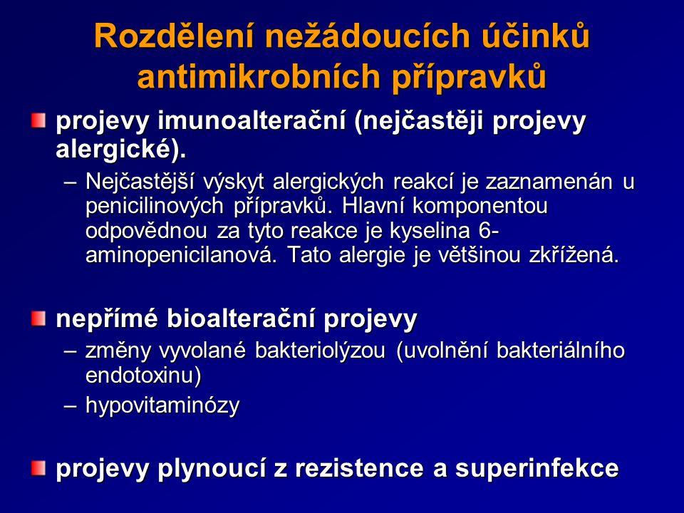 Rozdělení nežádoucích účinků antimikrobních přípravků projevy imunoalterační (nejčastěji projevy alergické). –Nejčastější výskyt alergických reakcí je