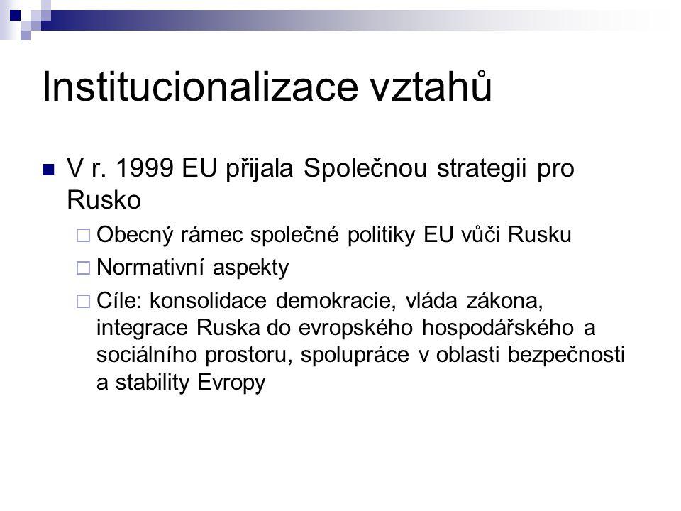 Institucionalizace vztahů V r. 1999 EU přijala Společnou strategii pro Rusko  Obecný rámec společné politiky EU vůči Rusku  Normativní aspekty  Cíl