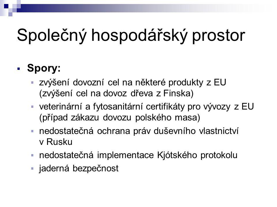 Společný hospodářský prostor  Spory:  zvýšení dovozní cel na některé produkty z EU (zvýšení cel na dovoz dřeva z Finska)  veterinární a fytosanitár