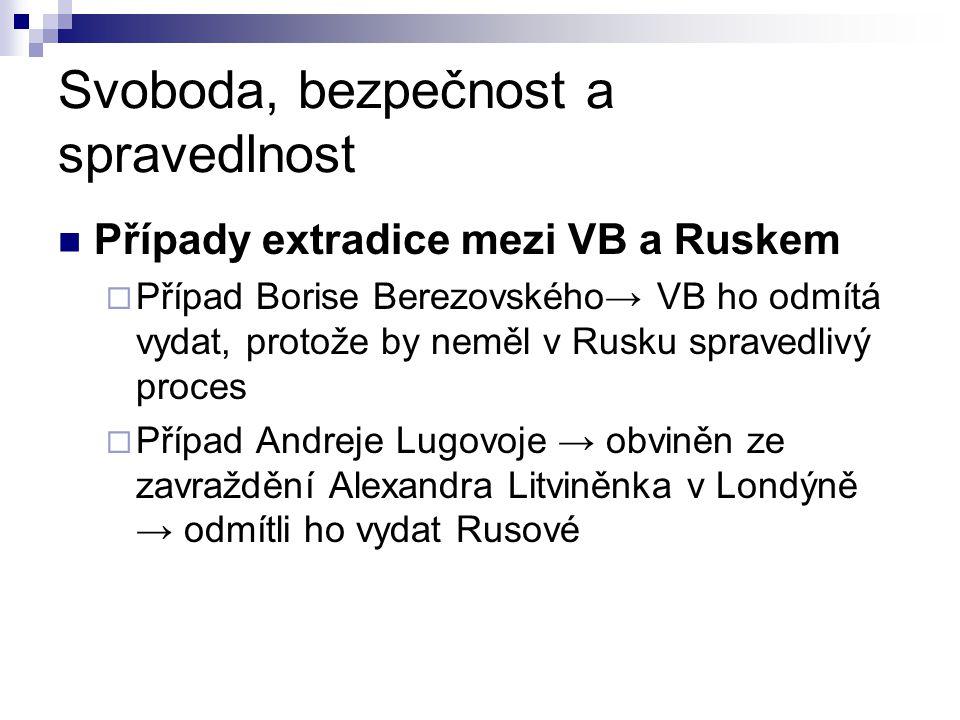 Svoboda, bezpečnost a spravedlnost Případy extradice mezi VB a Ruskem  Případ Borise Berezovského→ VB ho odmítá vydat, protože by neměl v Rusku sprav