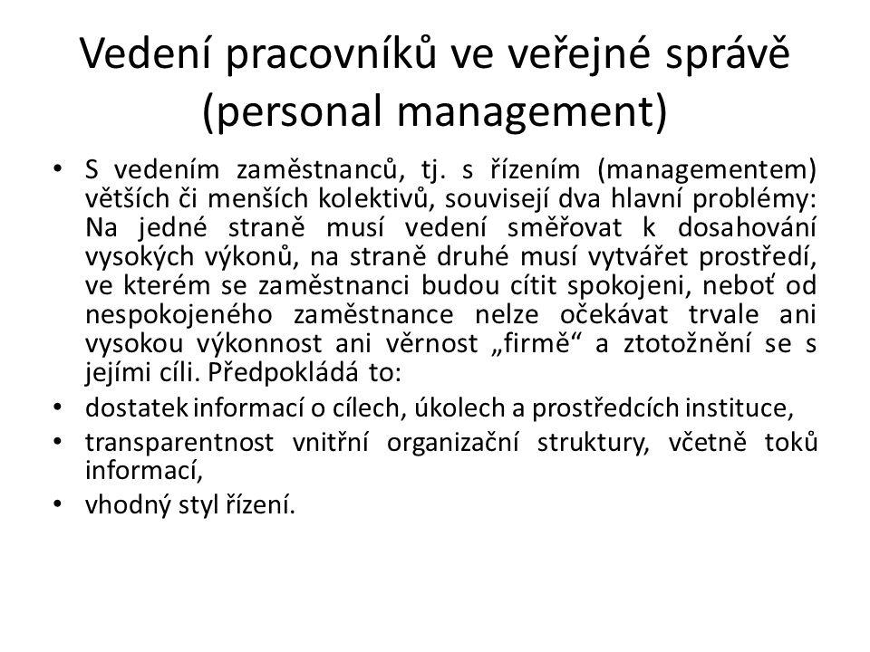 Vedení pracovníků ve veřejné správě (personal management) S vedením zaměstnanců, tj.