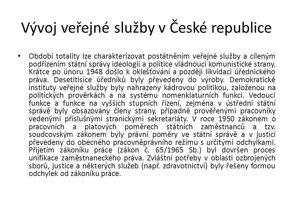 Vývoj veřejné služby v České republice Období totality lze charakterizovat postátněním veřejné služby a cíleným podřízením státní správy ideologii a politice vládnoucí komunistické strany.