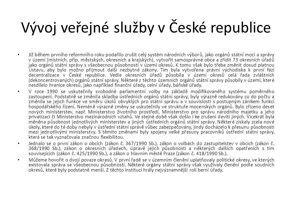 Vývoj veřejné služby v České republice Již během prvního reformního roku podařilo zrušit celý systém národních výborů, jako orgánů státní moci a správy v území (místních, příp.