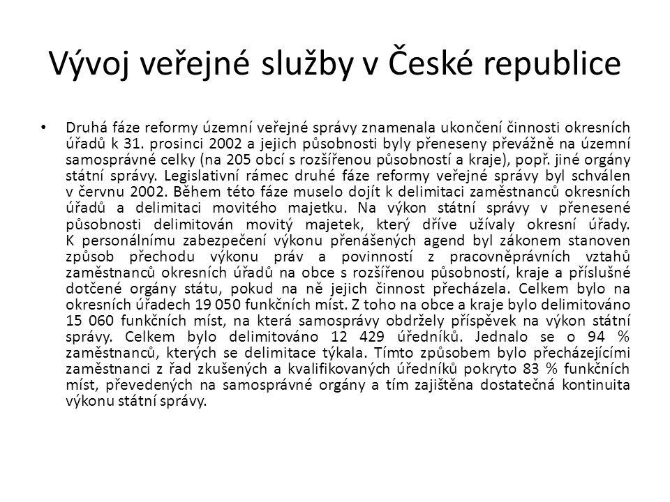 Vývoj veřejné služby v České republice Druhá fáze reformy územní veřejné správy znamenala ukončení činnosti okresních úřadů k 31.